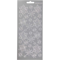 stickers zilver sneeuwvlokjes patroon