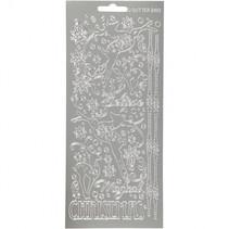 stickers zilver kerstmis rendieren