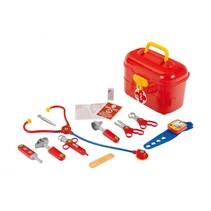 Dokterskoffertje met accessoires 10-delig rood