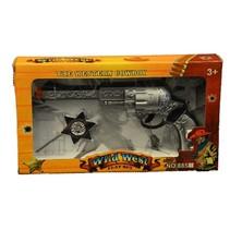 pistool met badge cowboy zilver 2-delig