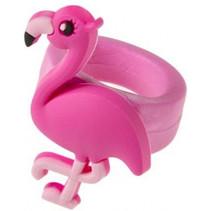 flamingo ring meisjes 4 x 3 cm roze