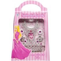 sieradenset prinsessen 5-delig zilverkleurig/roze
