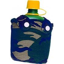 drinkfles militair in foudraal 15 cm legergroen
