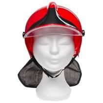 brandweerhelm met nekbescherming rood