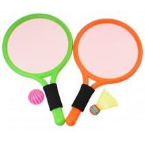 badmintonset 38 cm 4-delig groen/oranje