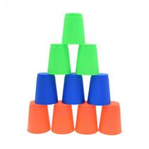 stapelbekers junior groen/blauw/rood 12 stuks