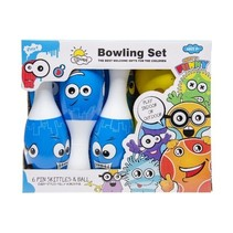 bowlingset junior 15 cm blauw/wit 7-delig