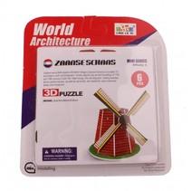 3D-Puzzel molen klein 6-delig rood