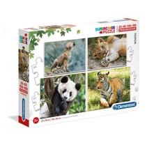 legpuzzel Wildlife 4 puzzels 20/60/100/180 stukjes