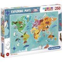 legpuzzel Exploring Maps: Dieren 250 stukjes