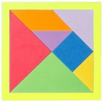 tangram vormenspel foam 15,5 cm geel