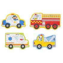 mijn eerste puzzels: reddingswagens 4 puzzels