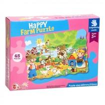 vloerpuzzel Happy Farm 44 x 31 cm 45-delig multicolor