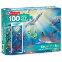 vloerpuzzel Onderwaterwereld 100 stukjes blauw