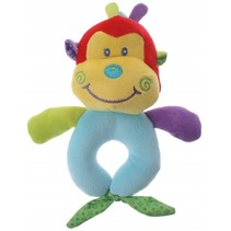 pluche rammelaar aap geel/blauw 16 cm
