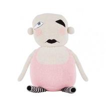 knuffel babypop 30 cm alpaca wol wit/roze