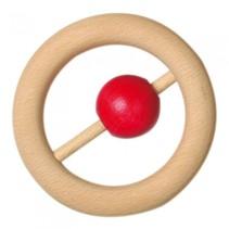 babyring met bal hout 7 cm rood