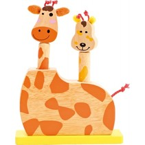 springspeelgoed Giraffen 20 cm geel/oranje