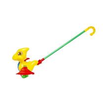 Stokroller dino 47 cm geel