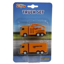 vrachtauto diecast pull-back 9 cm oranje 2 stuks