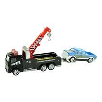 takelwagen met pick-upwagen 10 cm zwart/rood