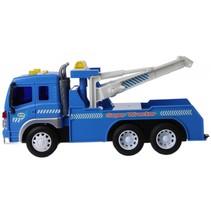 Takelwagen met geluid blauw/wit 25 cm