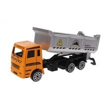 vrachtwagen met bak die-cast 11 cm oranje/zilver