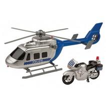 politiehelikopter met politiemotor 30 cm blauw