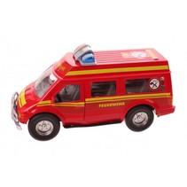 brandweerauto met frictiemotor 25 cm rood