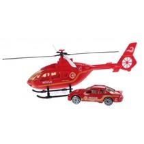 Rescue Team set helikopter met auto rood brandweer
