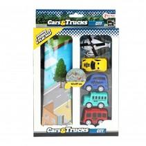 Cars & trucks 5 Voertuigen met speelmat weg