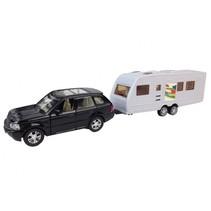 auto met caravan 28 cm pullback zwart/wit