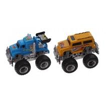monstertrucks pullback blauw/geel 2 stuks