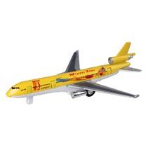 metalen vliegtuig 19 cm geel
