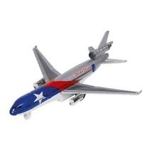 metalen vliegtuig 19 cm blauw/zilver