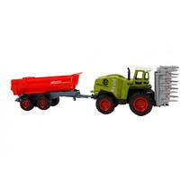 tractor met aanhanger 72 cm junior groen/rood