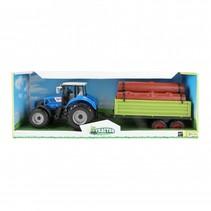tractor met oplegger blauw 20 cm