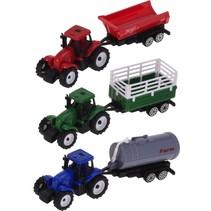 tractors met trailer 16 cm 3 stuks