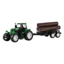 tractor met aanhanger hout groen 42 cm