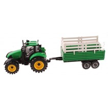 tractor met veewagen 45 cm frictie groen