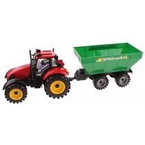 tractor met kiepkar 45 cm frictie rood