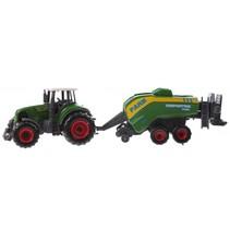 tractor met aanhanger 22 cm cropcutter groen