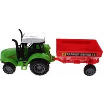tractor met aanhanger 30 cm groen/rood
