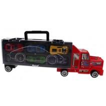 Vrachtauto met auto's 38 cm rood