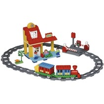 plus treinbaan met station 100-delig multicolor