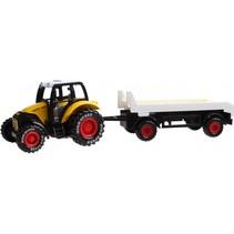 tractor met oplegger 19 cm geel
