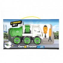 Cars&trucks 3 in 1 DIY vuilniswagen jongens groen