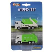 vuilniswagens diecast pull-back 9 cm groen 2 stuks