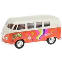 Welly hippie volkswagenbus oranje 10,5 cm