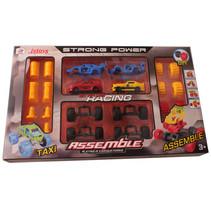 autobouwset Assemble jongens rood/geel 24-delig accessoires